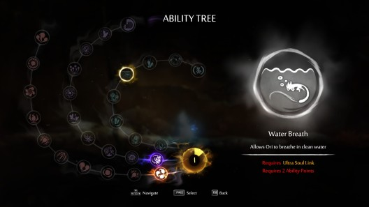 Leveling up Ori's abilities