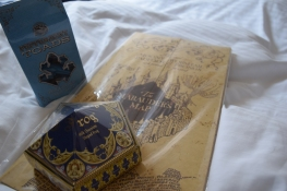 Some goodies I snagged for myself - a Marauder's Map that opens up with little pop-ups, a Chocolate Frog (must-have), and Peppermint Toads!